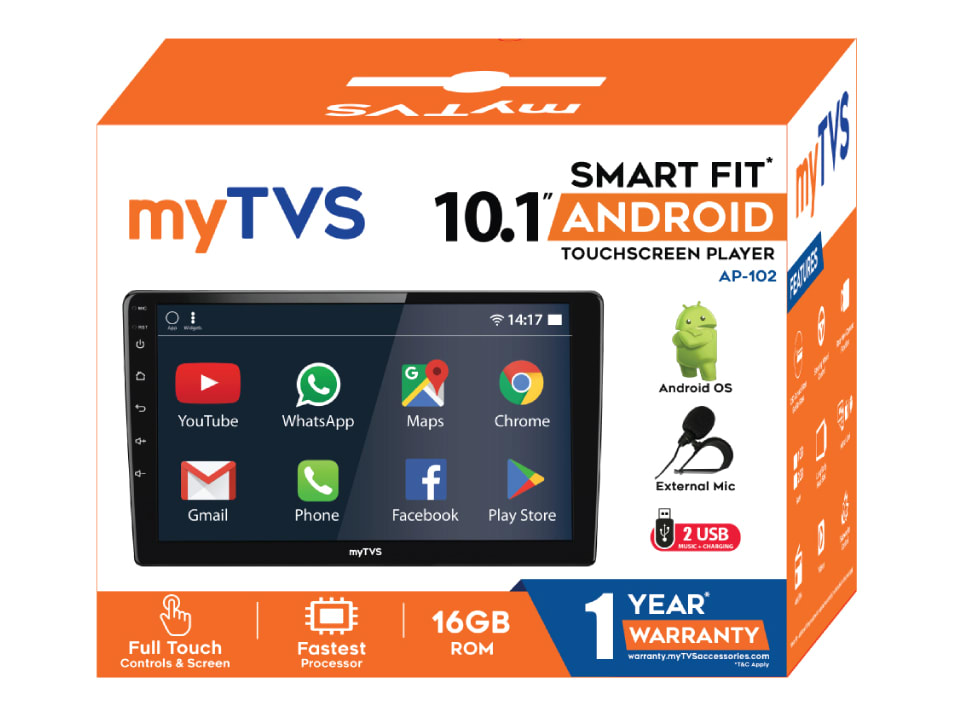 Buy online myTVS AP-102 SmartFit Android Touch-Screen Player All Cars at Best Price
