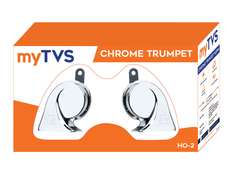 Enjoy safe driving with myTVS HO-2 Chrome Trumpet Twin Tone Horn