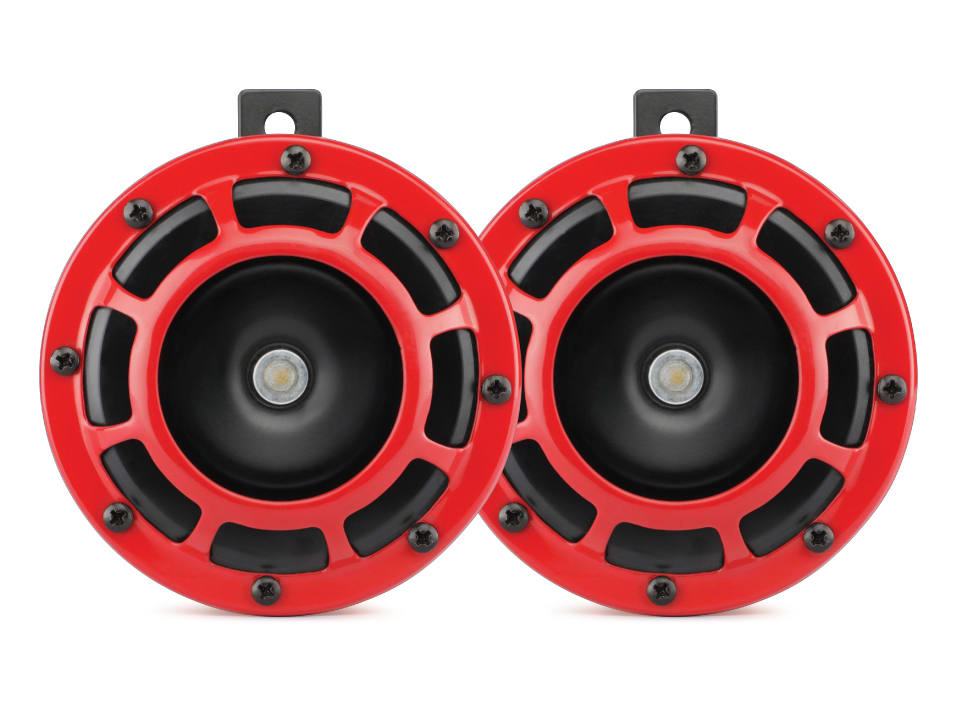 Enjoy safe driving with myTVS HO-5 Red Grill Super-tone Car/Bike Horn Set of 2-Red