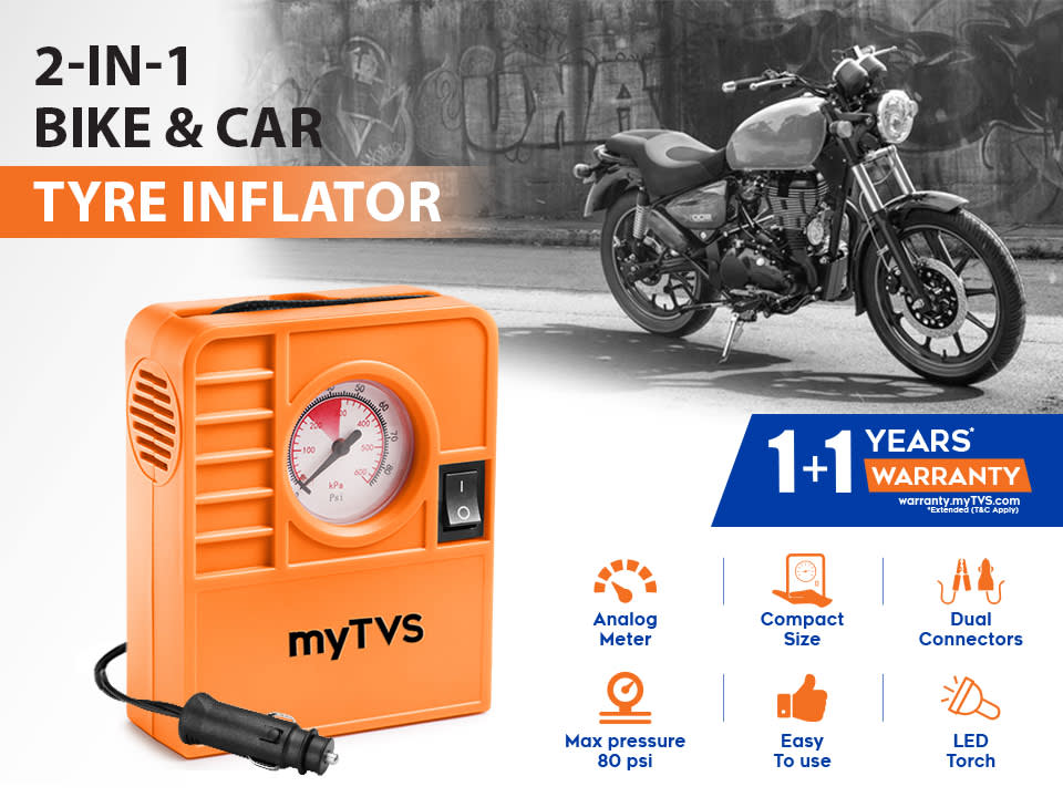 2-in-1 Tyre air pump for Cars & Bikes, analog meter with 80 Psi