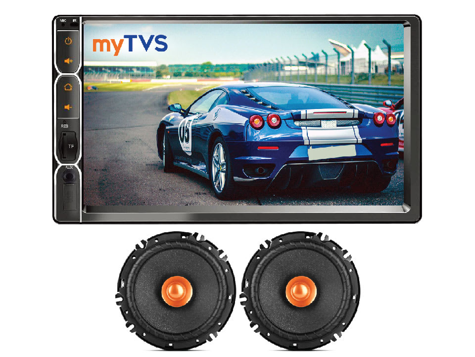 myTVS AV-E1 E-Series 7 Inches Touch screen Car Audio Video Player & SDC61 Dual Cone Car Speakers