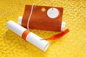 Modish shimmer white clutch wedding card