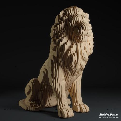 Sculpture lion en bois