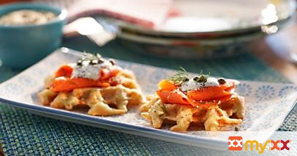 """Everything"" Savory Potato Waffles with Smoked Salmon"