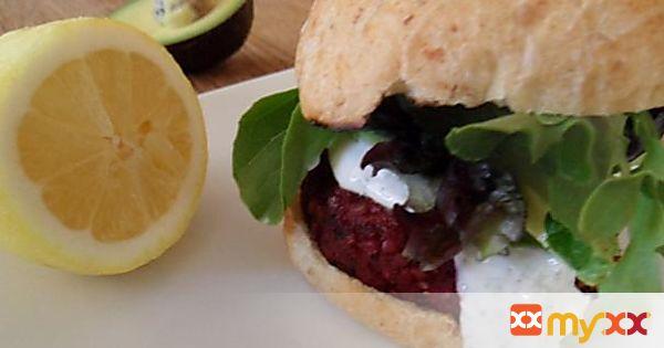 Beet Burger with Lemon Dill Greek Yogurt