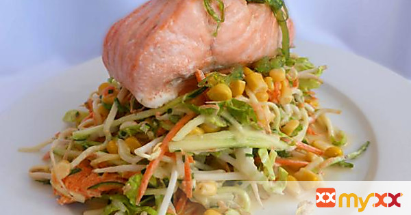 Asian Coleslaw with Baked Salmon