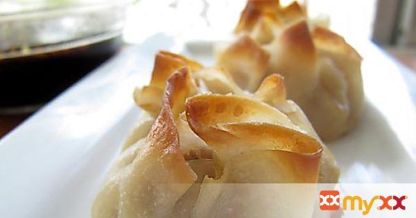 Baked Pork Flower Dumplings with Soy Ginger Dipping Sauce