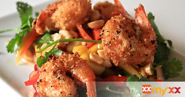 Almond Crusted Shrimp and Mango Salad