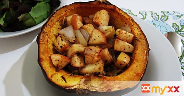 Apple and Rice Stuffed Acorn Squash