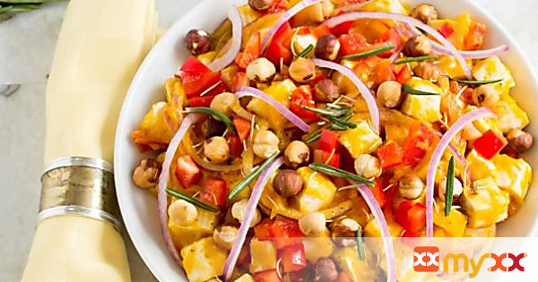 Butternut Squash Tofu Salad With Toasted Hazelnuts