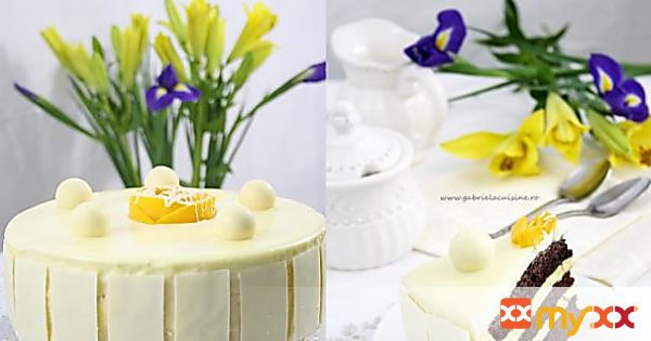 Cake with mango mousse and white chocolate