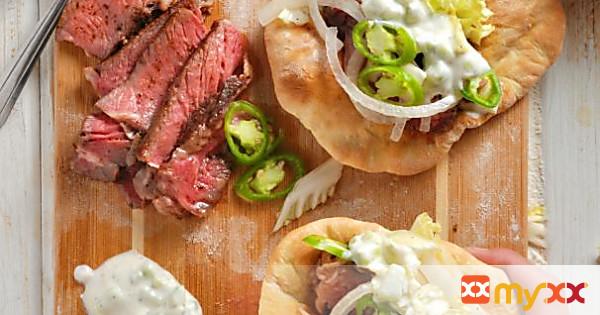 easy steak gyros + homemade pita