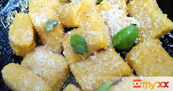 Pumpkin gnocchi with basil and Parmesan