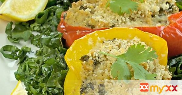 Quinoa Stuffed Bell Peppers with Crab Meat