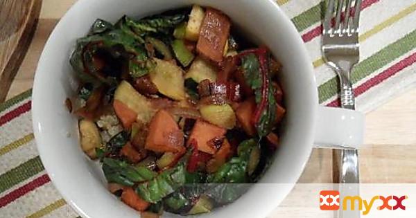 Red Wine & Worcestershire Sautéed Squash, Sweet Potato & Chard with Quinoa