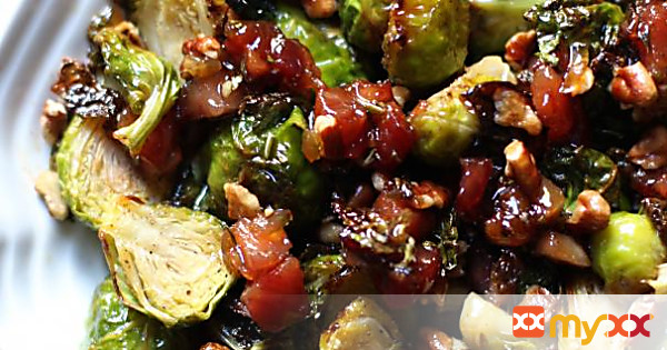 Roasted Brussels Sprouts with glazed pancetta and pecans