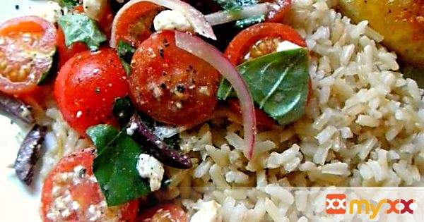 Roasted Chicken Breasts with Brown Rice and Cherry Tomato Salad