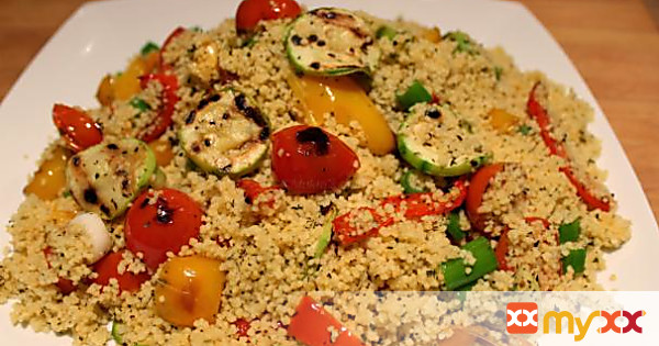 Roasted courgette and couscous salad