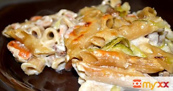 Roasted Garlic Baked Penne Primavera