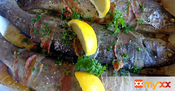 Trout wrapped in bacon