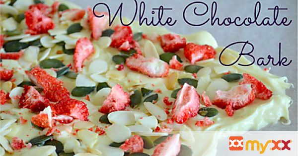 White Choc Bark with freeze-dried strawberries, almonds & pumpkin seeds