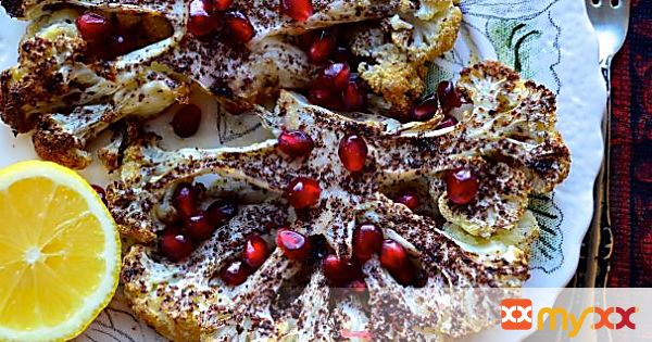 Sumac Dusted Cauliflower Steaks with Pomegranate