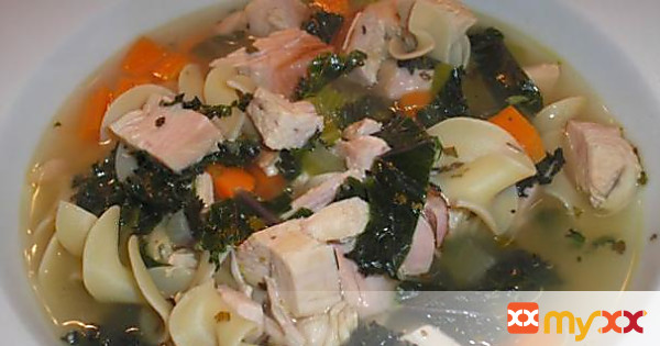 Turkey-Noodle Soup with Carrots and Red Kale
