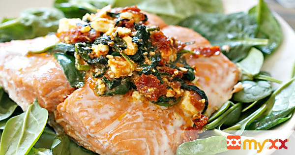 Feta & Sundried Tomato Stuffed Salmon