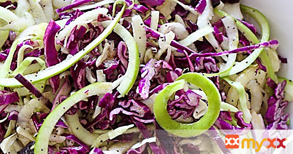Spiralized Apple and Cabbage Slaw with Poppy Seed Dressing