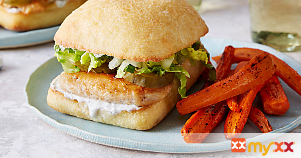 Chicken Sandwiches with Buttermilk Dressing & Roasted Carrot Fries