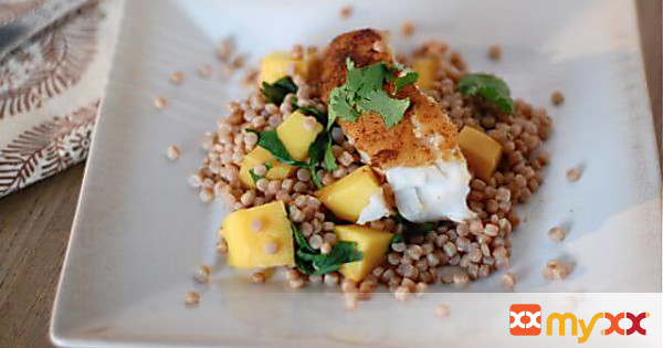 Moroccan Fish with Mango and Couscous