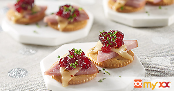 Ritz Ham, Cheese and Cranberry Topper