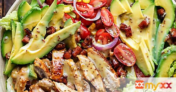 Honey Mustard Chicken, Avocado & Bacon Salad