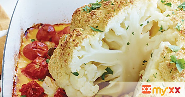 Whole Roasted Cauliflower with Tomatoes and Garlic