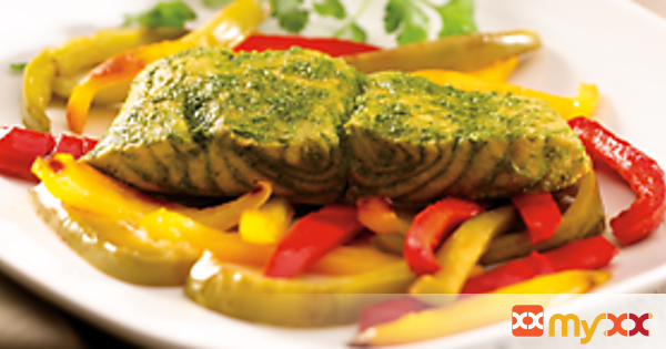 Cilantro Salmon with Peppers