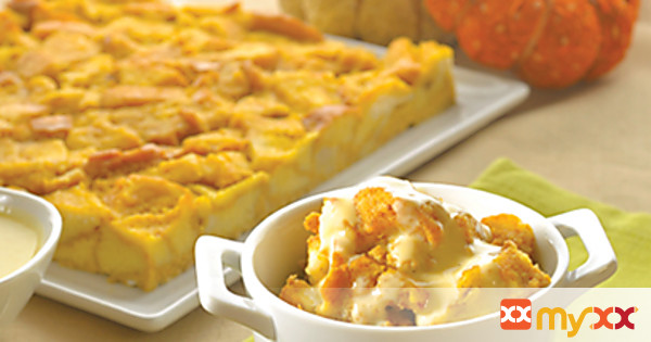 Pumpkin Bread Pudding with Gingered Crème Anglaise