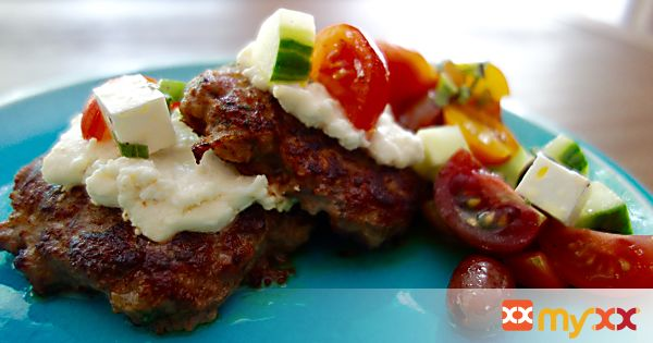 Greek Burger with Cucumber and Tomato Salad