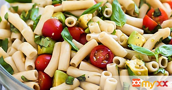 Vegan Avocado Caprese Pasta Salad