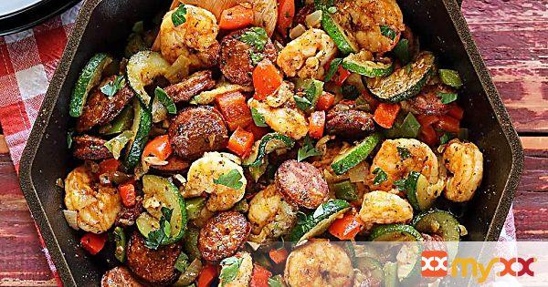 Shrimp & Sausage Paleo Skillet Meal (20 Minutes)