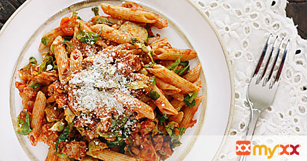 Autumn Penne Pasta with Sauteed Brussels Sprouts In A Light Ragu
