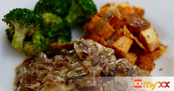 Chicken Marsala with Broccoli and Sweet Potato