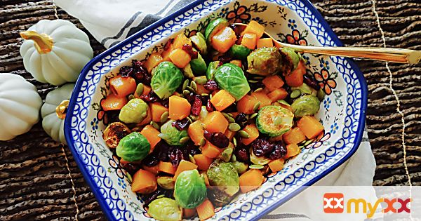 Maple Butternut Squash and Roasted Brussels Sprouts with Pumpkin Seeds & Cranberries