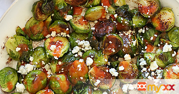 Buffalo Brussels Sprouts with Crumbled Blue Cheese