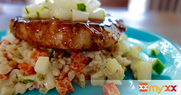 Honey Mustard Pork Chops with Yogurt Barley Salad