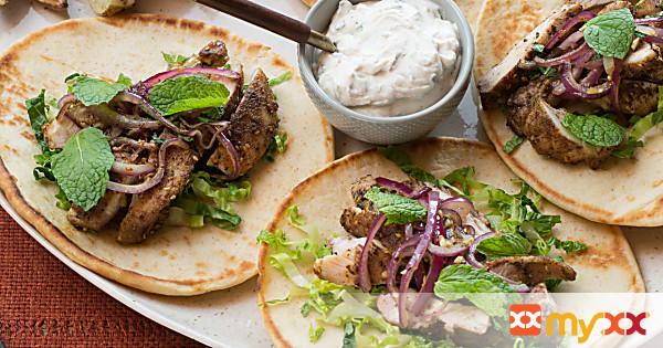 Spiced Chicken Souvlaki with Tahini-Yogurt Sauce & Roasted Potato Wedges