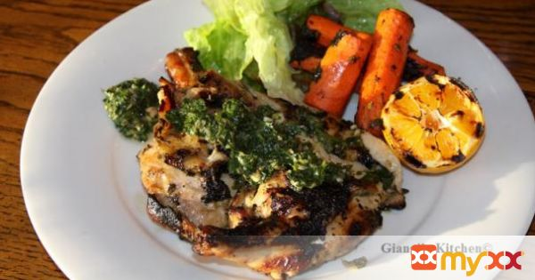 BBQ Chicken with Parsley, Lemon, Garlic Salsa
