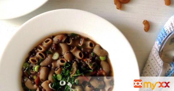 Black Lentil Pasta Soup