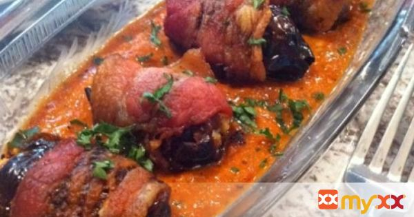 Bacon Wrapped Dates with Manchego, Romesco Sauce