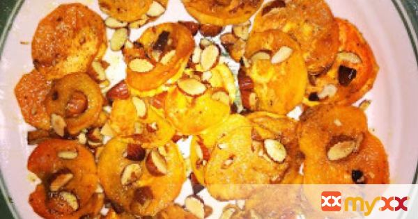 Baked Sweet Potato Chips with Crushed Almonds