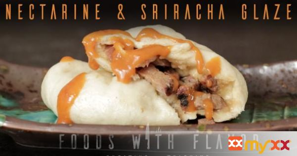 BAOZI WITH CHAR SIU AND NECTARINE & SRIRACHA GLAZE